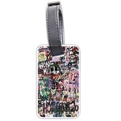 Graffiti Wall Pattern Background Luggage Tags (two Sides) by Nexatart