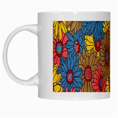 Background With Multi Color Floral Pattern White Mugs by Nexatart