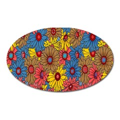 Background With Multi Color Floral Pattern Oval Magnet by Nexatart