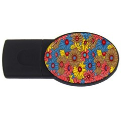 Background With Multi Color Floral Pattern Usb Flash Drive Oval (4 Gb) by Nexatart