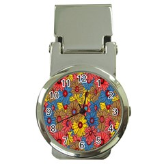 Background With Multi Color Floral Pattern Money Clip Watches by Nexatart