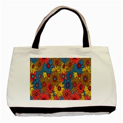 Background With Multi Color Floral Pattern Basic Tote Bag by Nexatart