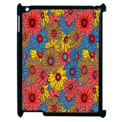 Background With Multi Color Floral Pattern Apple Ipad 2 Case (black) by Nexatart