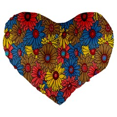 Background With Multi Color Floral Pattern Large 19  Premium Heart Shape Cushions by Nexatart