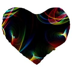 Abstract Rainbow Twirls Large 19  Premium Heart Shape Cushions by Nexatart