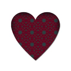 Blue Hot Pink Pattern With Woody Circles Heart Magnet by Nexatart