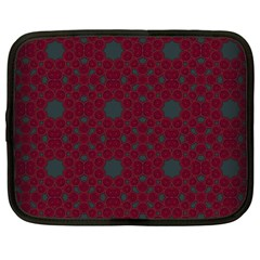 Blue Hot Pink Pattern With Woody Circles Netbook Case (large) by Nexatart