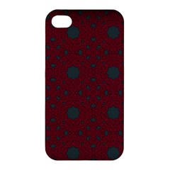 Blue Hot Pink Pattern With Woody Circles Apple Iphone 4/4s Hardshell Case by Nexatart