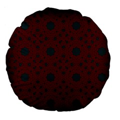 Blue Hot Pink Pattern With Woody Circles Large 18  Premium Flano Round Cushions by Nexatart
