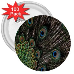 Close Up Of Peacock Feathers 3  Buttons (100 Pack)  by Nexatart
