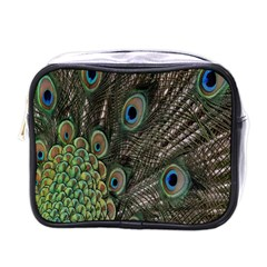 Close Up Of Peacock Feathers Mini Toiletries Bags by Nexatart