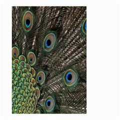 Close Up Of Peacock Feathers Small Garden Flag (two Sides) by Nexatart