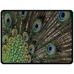 Close Up Of Peacock Feathers Double Sided Fleece Blanket (large)  by Nexatart