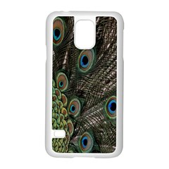 Close Up Of Peacock Feathers Samsung Galaxy S5 Case (white) by Nexatart