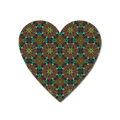 Seamless Abstract Peacock Feathers Abstract Pattern Heart Magnet by Nexatart