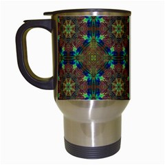 Seamless Abstract Peacock Feathers Abstract Pattern Travel Mugs (white) by Nexatart