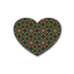 Seamless Abstract Peacock Feathers Abstract Pattern Rubber Coaster (heart)  by Nexatart