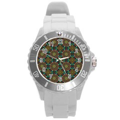Seamless Abstract Peacock Feathers Abstract Pattern Round Plastic Sport Watch (l) by Nexatart