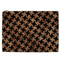 Houndstooth2 Black Marble & Brown Stone Cosmetic Bag (xxl) by trendistuff