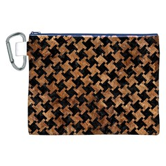Houndstooth2 Black Marble & Brown Stone Canvas Cosmetic Bag (xxl) by trendistuff