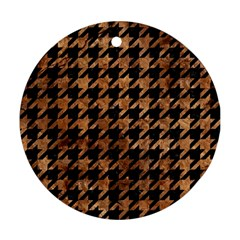 Houndstooth1 Black Marble & Brown Stone Round Ornament (two Sides) by trendistuff