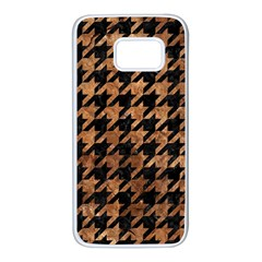 Houndstooth1 Black Marble & Brown Stone Samsung Galaxy S7 White Seamless Case by trendistuff
