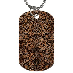 Damask2 Black Marble & Brown Stone (r) Dog Tag (two Sides) by trendistuff
