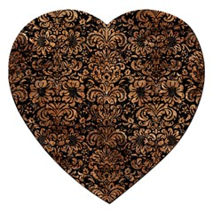 Damask2 Black Marble & Brown Stone Jigsaw Puzzle (heart) by trendistuff