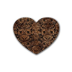 Damask2 Black Marble & Brown Stone Rubber Coaster (heart) by trendistuff