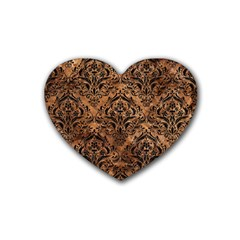 Damask1 Black Marble & Brown Stone (r) Rubber Coaster (heart) by trendistuff