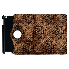 Damask1 Black Marble & Brown Stone (r) Apple Ipad 2 Flip 360 Case by trendistuff