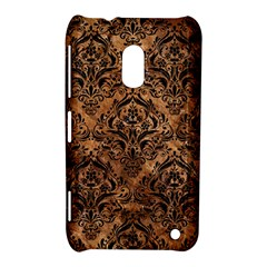 Damask1 Black Marble & Brown Stone (r) Nokia Lumia 620 Hardshell Case by trendistuff