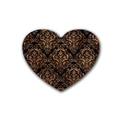 Damask1 Black Marble & Brown Stone Rubber Coaster (heart) by trendistuff