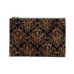 Damask1 Black Marble & Brown Stone Cosmetic Bag (large) by trendistuff