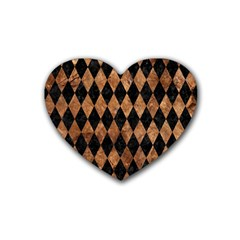 Diamond1 Black Marble & Brown Stone Rubber Coaster (heart) by trendistuff