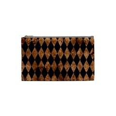 Diamond1 Black Marble & Brown Stone Cosmetic Bag (small) by trendistuff