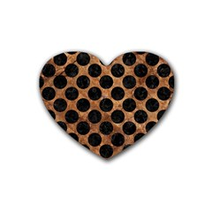 Circles2 Black Marble & Brown Stone (r) Rubber Coaster (heart) by trendistuff