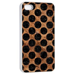 Circles2 Black Marble & Brown Stone (r) Apple Iphone 4/4s Seamless Case (white) by trendistuff