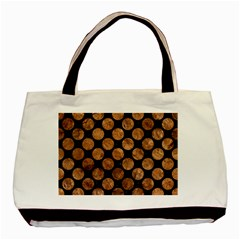 Circles2 Black Marble & Brown Stone Basic Tote Bag (two Sides) by trendistuff