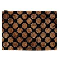 Circles2 Black Marble & Brown Stone Cosmetic Bag (xxl) by trendistuff