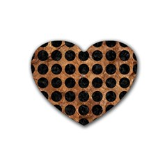 Circles1 Black Marble & Brown Stone (r) Rubber Coaster (heart) by trendistuff