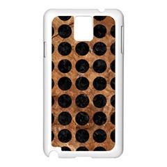 Circles1 Black Marble & Brown Stone (r) Samsung Galaxy Note 3 N9005 Case (white) by trendistuff
