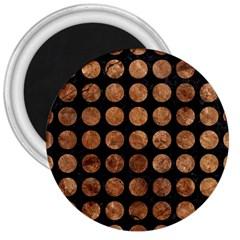 Circles1 Black Marble & Brown Stone 3  Magnet by trendistuff