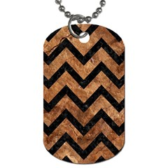 Chevron9 Black Marble & Brown Stone (r) Dog Tag (two Sides) by trendistuff