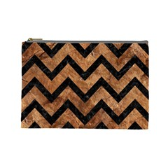 Chevron9 Black Marble & Brown Stone (r) Cosmetic Bag (large) by trendistuff