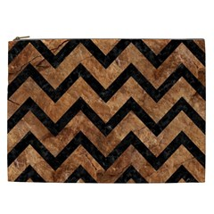 Chevron9 Black Marble & Brown Stone (r) Cosmetic Bag (xxl) by trendistuff