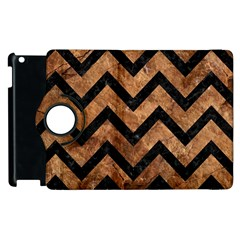 Chevron9 Black Marble & Brown Stone (r) Apple Ipad 2 Flip 360 Case by trendistuff