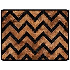 Chevron9 Black Marble & Brown Stone (r) Double Sided Fleece Blanket (large) by trendistuff