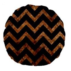 Chevron9 Black Marble & Brown Stone Large 18  Premium Round Cushion  by trendistuff