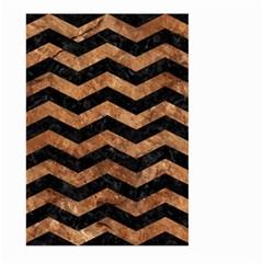 Chevron3 Black Marble & Brown Stone Large Garden Flag (two Sides) by trendistuff